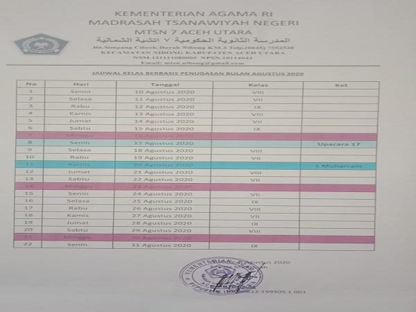 Jadwal Masuk Madrasah Berbasis Penugasan MTsN 7 Aceh Utara