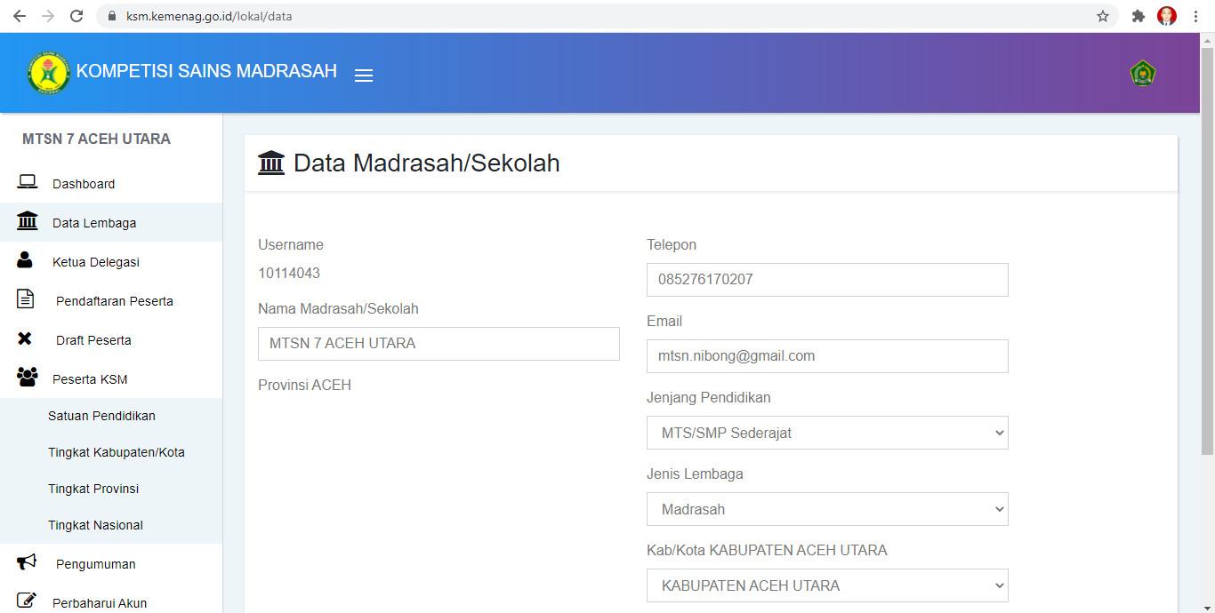 Peserta KSM 2021 MTsN 7 Aceh Utara Tingkat Kabupaten/Kota